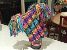 Fireworks hat with boucle yarn