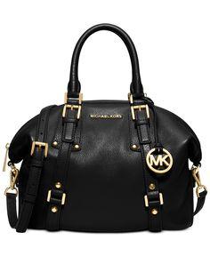 MICHAEL Michael Kors Bedford Belted Medium Satchel Black Leather Shoulder Strap Handbag Designer Fashion