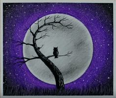 Owl Moonlight Scenery drawing by Easy Oil Pastel with this how-to video and step-by-step drawing instructions. Oil Pastel Drawings Easy, Oil Pastel Paintings, Cool Art Drawings, Easy Drawings, Owl Drawing Easy, Drawing Ideas, Drawing Scenery, Scenery Paintings, Oil Pastel Crayons