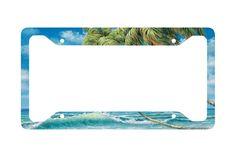 Airstrike® Beach License Plate Frame, Surf Car Tag Frame, Beach License Plate Holder, Ocean Palm Trees Waves License Plate Frame-30-3410