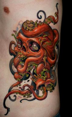 Octopus Skull Tattoo by Curtis Burgess at Tribal Rites Tattoo in Fort Collins, Colorado