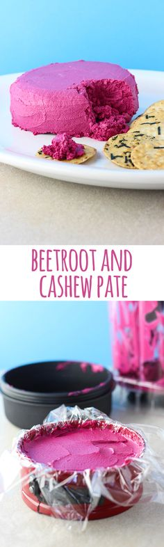 Bold in colour and flavour, this creamy beetroot and cashew pate is a delicious addition to a nibbles platter or cheeseboard. #vegan #vegetarian #glutenfree #dairyfree #beetroot #cashews #dip #spread #snacks #pate #pink #recipes
