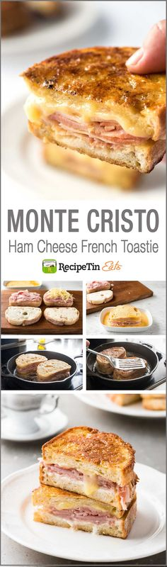 Monte Cristo Sandwich (Ham Cheese French Toast) Monte Cristo (Ham Cheese Breakfast Sandwich) – It's a french toast version of ham and cheese sandwich. The best you will ever have! Monte Cristo Sandwich, Monte Cristo Recipe, Brunch Recipes, Breakfast Recipes, Ham Breakfast, Breakfast Sandwiches, Grilled Cheese Sandwiches, Gourmet Breakfast, Mexican Breakfast