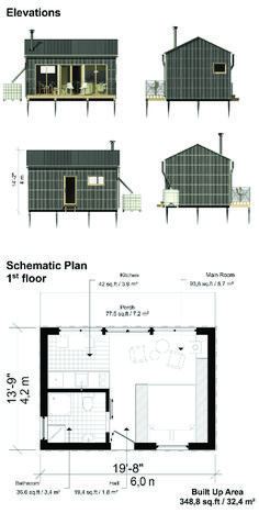 Tiny House Plans Design Ideas Interior On Wheels Bathroom Tiny House Kitchen Modern Exterior Floor Plans Plans on Wheels Inspiration Small Cottages Layout Micro House Plans, Modern House Plans, Small House Plans, Building A Small House, Building Costs, Small Cottage Plans, Cottage House Plans, Small House Design, Cabin Design