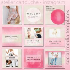 TEMPLATES: Instagram Templates Spring Pink Social Media Spring Is Here, Spring Sale, Pink Instagram, Social Media Template, Instagram Accounts, Social Media Marketing, Diy Design, Instagram Templates, Photoshop