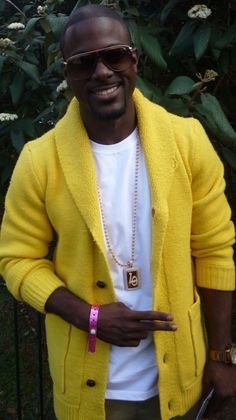 Lance Gross-And Wearing Banana color My Black Is Beautiful, Gorgeous Men, Chocolate Men, Chocolate Dreams, Afro, Yellow Cardigan, Shawl Cardigan, Lance Gross, Well Dressed Men
