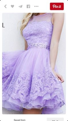 2016 Princess Lilac Short Lace Homecoming Dresses Beaded Tulle Prom Sweet 16 Dress For Teens Juniors sold by Ulass. Shop more products from Ulass on Storenvy, the home of independent small businesses all over the world. Dama Dresses, Lace Homecoming Dresses, Hoco Dresses, Cute Dresses, Beautiful Dresses, Dress Outfits, Bridesmaid Dresses, Dress Prom, Beaded Dresses