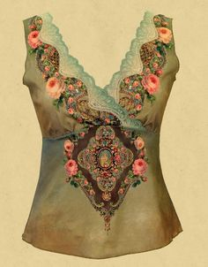 Michal Negrin - sea green silk top with rose embellishment