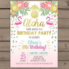 Flamingo party invitation Tropical Birthday by Anietillustration
