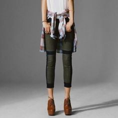 """Black + Green Paneled Ankle Jeans by BDG These jeans are brand new without tags and have never been worn.  The brand is BDG from Urban Outfitters.  The inseam is 26"""". Urban Outfitters Jeans Ankle & Cropped"""