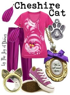 A casual and affordable outfit for the Cheshire Cat from Alice in Wonderland!