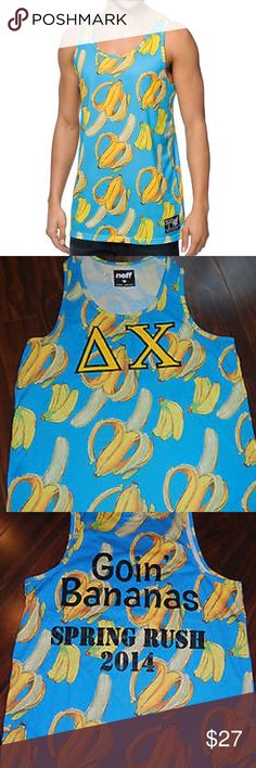 Neff Going Bananas Men's Tank Top. Sz M. Sold out Neff Going Bananas Men's Tank Top. Sz M. Sold out. Please look second picture for actual top. The Neff Going Bananas blue tank top is perfect for the summer festival circuit or beach-bumming it with your buddies. Neff Going Bananas tank top for guys. Blue colorway. All-over peeled and bundle of bananas graphic print. Neff brand tag at the lower front.  100% polyester. Sz M Excellent pre-owned condition Worn once Smoke and pet free home Neff…