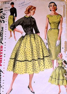 Vintage 1950's Simplicity 1412 Sewing Pattern, One-Piece Dress With Two Skirts And Jacket, Junior Size 11, Bust 29