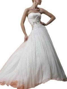 GEORGE BRIDE Luminous beading Strapless Halter Chapel train Wedding dress