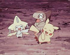 Pikachu, Axew and Jirachi ^.^ ♡