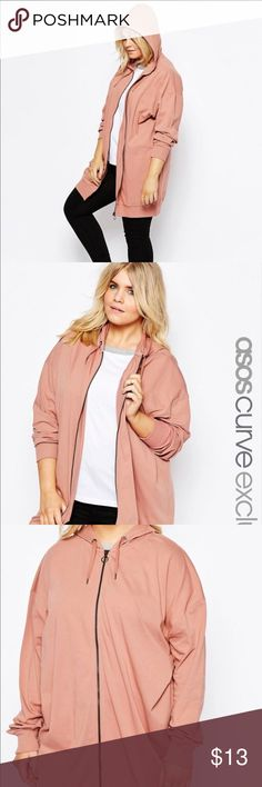 ASOS Curve pink zip up Worn only a couple times. Super cute oversized zip up. Soft. Has no pockets on it. The lighting is weird in the actual picture. Looks like the screenshots from the website ASOS Curve Tops Sweatshirts & Hoodies