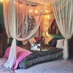 "Defining""bohemian"" (boho) as a interior style is really trying to tag something which can't be tagged, so it is dependent . Read Beautiful and Cozy Bohemian Bedroom Decor Ideas Dream Rooms, Dream Bedroom, Home Bedroom, Bedroom Decor, Canopy Bedroom, Bedroom Ideas, Modern Bedroom, Master Bedroom, Trendy Bedroom"