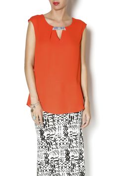 Sleeveless top with embroidered notch neckline. Beautifuly bright for summer.   Tab Neck Top by y&i clothing boutique. Clothing - Tops - Short Sleeve Clothing - Tops - Blouses & Shirts Marina, San Francisco