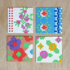 Vintage floral Hama bead coasters tutorial via WeeBirdy.com