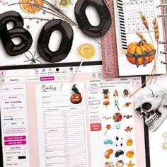 """Update 🎃👻🖤 We added Halloween themed Stickers to the Sticker Selection 🦇 Search for the keywords """"Halloween"""", """"Witchcraft"""" and """"Hats"""" to show/add graphics 💖 . . Swipe left for Halloween themed planners! You can use them all commercially as-is. You can further apply changes to templates that have been made by us, but you don't have to 🥰 . . For more please check out the link in the bio ⬆ #Regram via @www.ins Printable Letters, Printable Labels, Printable Planner, Free Printables, Planner Layout, Monthly Planner, Planner Organization, Halloween Themes, Witchcraft"""