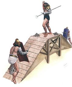 """""""A retiarius and two secutores fighting for the platform in the 2nd-3rd centuries AD"""", Vladamir Golubev"""