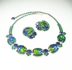 RESERVED... Vintage Necklace Earrings Juliana Style Blue Green Givre Glass Rhinestone Jewelry Set