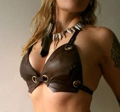 Dream Warriors brown leather halter bra/bikini top. Tribal
