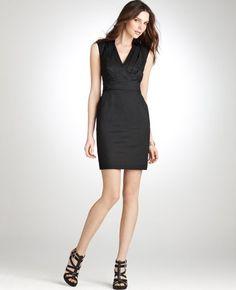 Beautiful Black Straps V-neck Pleated Taffeta Tea-length Cocktail Dress
