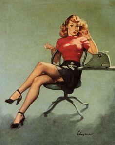 Gil Elvgren Vintage Pin Up Girl Illustration Pin Up Vintage, Retro Pin Up, Retro Art, Vintage Art, Vintage Style, Pinup Art, 1950 Pinup, Poses Pin Up, Gil Elvgren