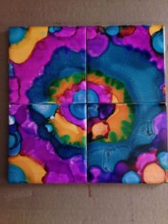 Alcohol Ink Coasters from February's TO DIY FOR Box by #darbysmart #diy