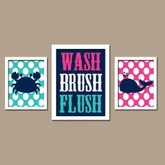 Nautical Sea Ocean Animal Whale Crab WASH Brush Flush Polka Dots Navy Blue Pink Turquoise Set of 3 Trio Prints Decor WALL ART Boy Bathroom - kids bathroom
