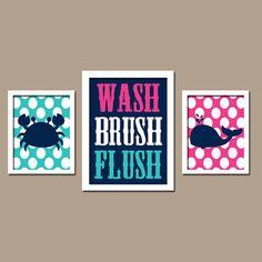 Nautical Sea Ocean Animal Whale Crab WASH Brush Flush Polka Dots Navy Blue Pink Turquoise Set of 3 Trio Prints Decor WALL ART Boy Bathroom - kids bathroom