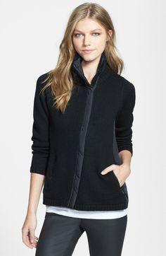 Eileen Fisher Black High Collar Front Zip Merino Wool Jacket - asymmetrical front zip - 100% merino