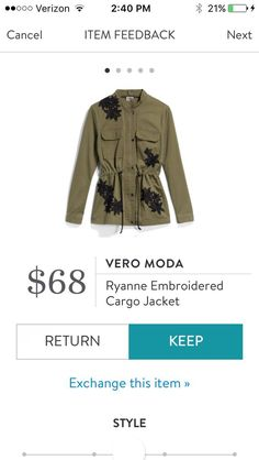 Vero Moda Ryan Embroidered Cargo Jacket. I love Stitch Fix! A personalized styling service and it's amazing!! Simply fill out a style profile with sizing and preferences. Then your very own stylist selects 5 pieces to send to you to try out at home. Keep