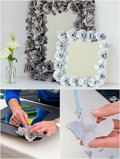Decorative Mirror with Egg Carton Flowers