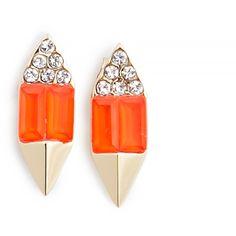 Carolyn Colby 14k Swarovski Crystal Ear Stud Earrings (130 CAD) ❤ liked on Polyvore featuring jewelry, earrings, orange, 14k earrings, bracelet jewelry, swarovski crystals bracelet, swarovski crystal earrings e orange bracelet