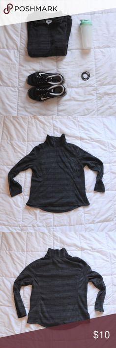 NWOT Old Navy Fleece Quarter Zip New without tags striped fleece quarter-zip from Old Navy Black and grey stripes.  Runs true to size Old Navy Tops Sweatshirts & Hoodies