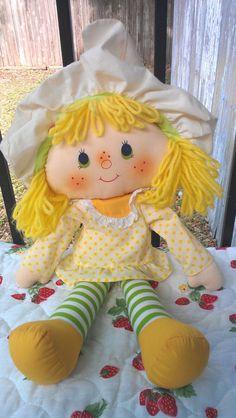 A super cute Strawberry Shortcake Lemon Meringue Rag Doll from 1981. #vintage #retro #toys #nostalgia #1980s