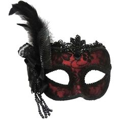 Remo Masquerade Mask ❤ liked on Polyvore featuring costumes, masks, accessories, masquerade, other, masquerade costume, elegant halloween costumes, lace costume, elegant costumes and red costumes
