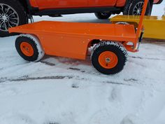 "Special request safety orange cart and rims. This custom version has a 24-1/2"" x 50"" deck 15"" ground height. Electric Utility, Electric Motor, Truck Boxes, Chain Drive, Pugs, Pallet, Monster Trucks, Deck, Technology"