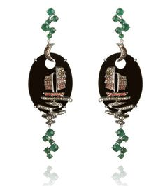 Onyx and Diamond Earrings by Wendy Yue