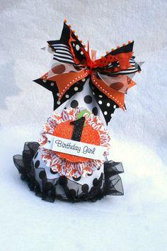 October Pumpkin Halloween birthday party hat