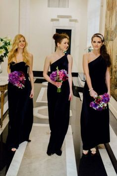 62 Stylish Black Bridesmaids' Dresses | HappyWedd.com