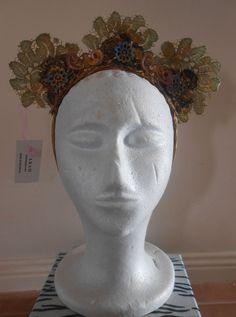 HARAH DESIGNS ANALEE  VINTAGE LACE CROWN Lace Crowns, Crown Headband, Vintage Lace, Fascinator, Designer Dresses, Sculpture, Costumes, Headdress, Designer Gowns