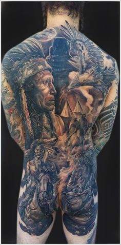 Well that is one bold tattoo wouldn't you say? lots of history in that tattoo but a bit much for me... http://traditionalnativehealing.com