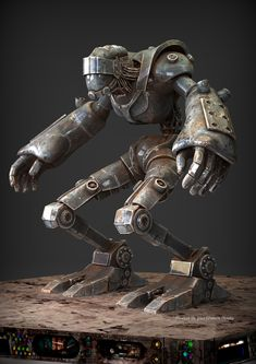 Created in zbrush, textured in and rendered in keyshot. For the turntable I exported the frames from keyshot then loaded in after effects to add the rain and to repeat the frames a few more times. Art Steampunk, Steampunk Robots, Character Art, Character Design, Metal Robot, Arte Robot, Metal Art Projects, Sci Fi Models, Steel Art
