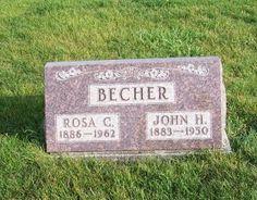 John H & Rosa C Becher, Zion Lutheran Cemetery, Chattanooga, Mercer County, Ohio. (2011 photo by Karen) #genealogy