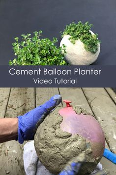 VIDEO Tutorial: Make a round cement planter with a balloon. A step by step tutorial on how to make these cool planters using a balloon as a mould and cement instead of concrete. | #DIYcement #DIYconcrete #cementplanter #concretePlanter #outdoorDecor #homemade #DIYplanter #artsyPrettyPlants