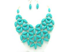 """Bubble BIB Flower Necklace Set - TURQUOISE eshop. $12.50. Length : 21"""" with 3"""" more extention for adjustable length. Gold tone Chain. Colorful Bubble Necklace"""