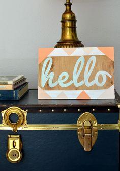 Hexagon Hello Sign